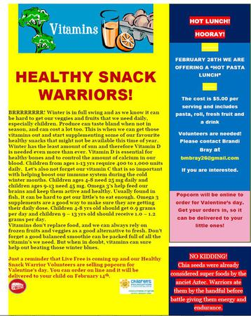 Healthy Snack Warriors Newsletter